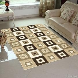"Allstar Brown / Beige Modern Geometric square design Area Rug (3' 9"" x 5' 1"")"