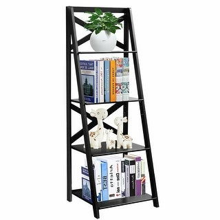 Costway 4-Tier Ladder Shelf Bookshelf Bookcase Storage Display Leaning