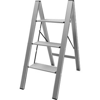 AmeriHome Ultra Slim Aluminum Three Step Folding Utility Step Ladder