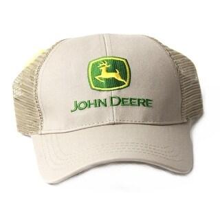 John Deere Adjustable Trucker Mesh Snapback Hat, Beige