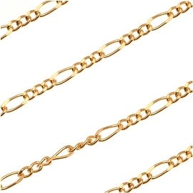22K Gold Plated Figaro Chain 4mm x 1.5mm - By The Foot