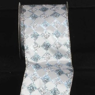 "Silver Glitter Harlequin Wired Craft Ribbon 4"" x 20 Yards"