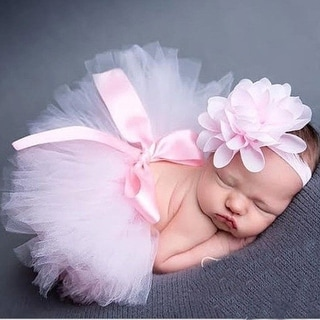 Handmade Baby Photo Props Infant Toddler Tutu Dress with Headwear - Pink