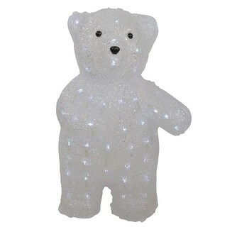 "16.5"" Lighted Commercial Grade Acrylic Polar Bear Christmas Display Decoration"
