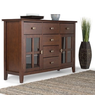WYNDENHALL Stratford SOLID WOOD 54 inch Wide Contemporary Sideboard Buffet Credenza - 54 inch Wide