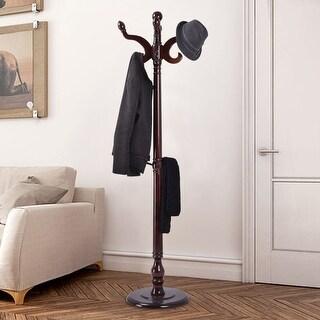 Costway 71'' Wood Hat Coat Rack Hanger Tree Stand Hallway Entry Home