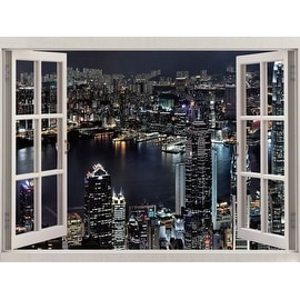 "LED Lighted Window Night Scene Capture of Hong Kong Canvas Wall Art 27.5"" x 39.25"""