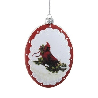 """5"""" White and Burgundy Cardinal with Holy and Berry Glittered Christmas Tree Ornament"""