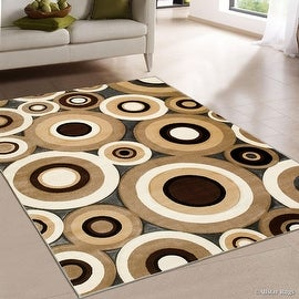 "AllStar Rugs Charcoal Carved Circles Modern Geometric Area Rug (3' 9"" x 5' 1"")"