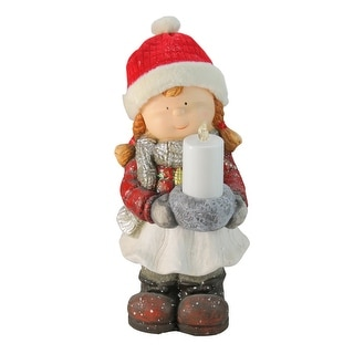 """17"""" Red and White Winter Clad Girl Holding a Candle Tabletop Christmas Figurine"""