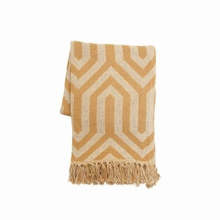 Foreside Home & Garden Mustard and Cream Pattern Hand Woven 50 x 60 inch Cotton Throw Blanket with Hand Tied Fringe