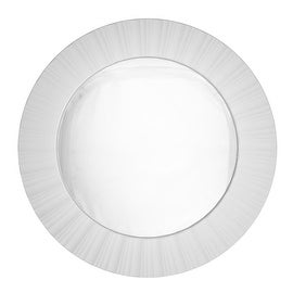 """20"""" Simply Elegant White Fluted Frame Decorative Round Wall Mirror"""