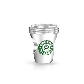 Coffee Lover Cup Latte Travel Mug Charm Bead 925 Sterling Silver