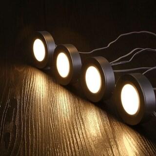 Silver Colored LED Puck Lights, Under Cabinet Lighting Kit, 3000K Warm White, Set of 4