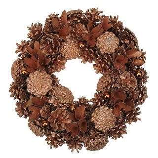 Autumn Harvest Glittered Rose Gold Pine Cone Artificial Thanksgiving Wreath - 13.5-Inch, Unlit