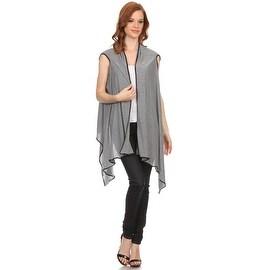 Womens Asymmetrical Striped Open Front Vest