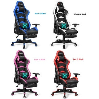 Goplus Massage Gaming Chair Reclining Racing Chair w/Lumbar Support