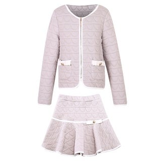 Richie House Girls' Elegant Knit Suit with Skirt
