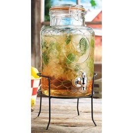 Palais Glassware Glass 'Rooster' Beverage Dispenser with Bail and Trigger Locking Lid - 1.5 Gallon