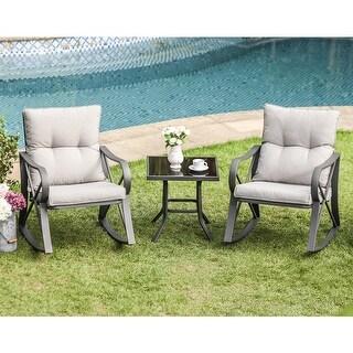 COSIEST Outdoor 3 Piece Bistro Set Rocking Chairs w Warm Gray Cushions