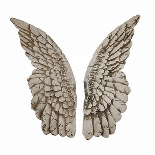 Wings of Protection Pair of 11 inch Aged Finish Wall Hanging Angel Wings