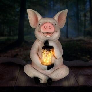 Solar Pig with Firefly Jar