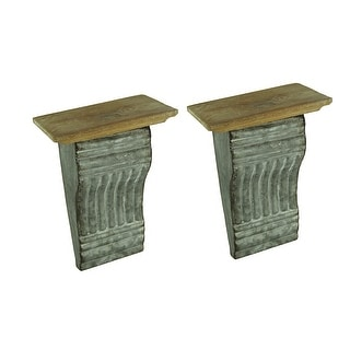 Rustic Embossed Tin and Wood Cornice Style Wall Shelf Set of 2 - 9.25 X 6.5 X 4.75 inches