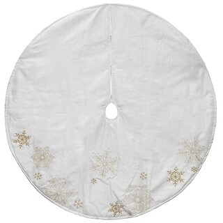 "48"" White and Gold Yarn Snowflakes Christmas Tree Skirt"