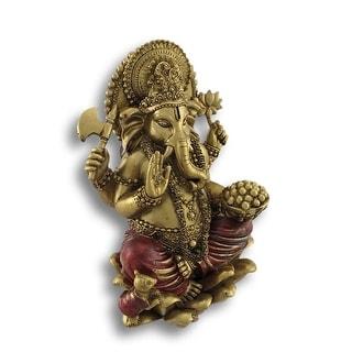 Golden Ganesha Sitting on Lotus Flower Statue - 6.25 X 4.25 X 4.5 inches