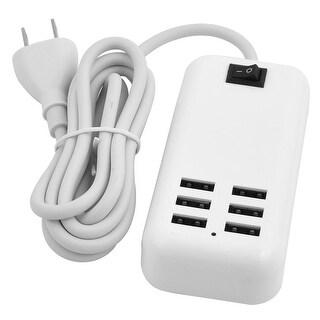 Unique Bargains AC 100-240V US Plug Travel Portable 6 Port Switch Design USB Power Adapter White