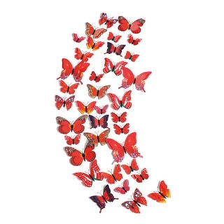 36pcs 3D Butterfly Wall Stickers for Room Decoration Red