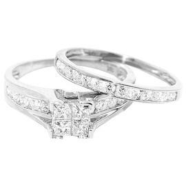 10K White Gold Engagement Ring and Wedding Band Set 0.5cttw Diamond