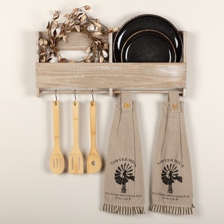 Sawyer Mill Charcoal Windmill Button Loop Kitchen Towel Set of 2 - Kitchen Towel 6.5x18