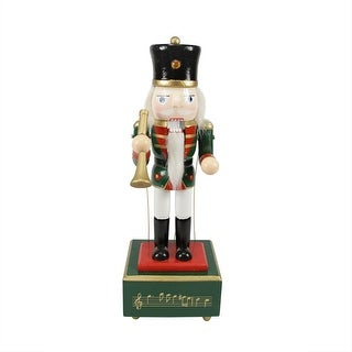 "12"" Red Animated and Musical Christmas Nutcracker with Trumpet"