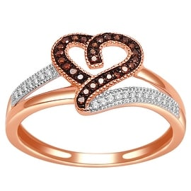 Rose Gold Heart Ring with Cognac and White Diamonds 0.14cttw 10K 10.5mm(I/j Color 0.14cttw)