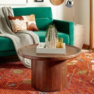 """Safavieh Devin Round Pedestal Coffee Table - Dark Oak - 28"""" x 28"""" x 16"""""""