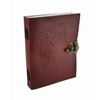 Embossed Leather World Map Journal w/Swing Clasp - 1.25 X 8 X 6 inches