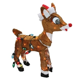"""24"""" Pre-Lit Rudolph Nosed Reindeer Christmas Outdoor Decoration - Clear Lights"""