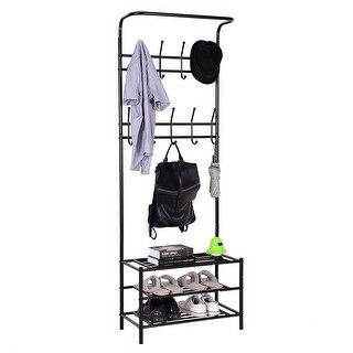 Gymax Metal Entryway Coat Hat Shoes Rack 3 Tier Storage Shelf 18 Hooks