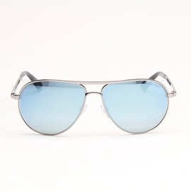 Marko Silver Metal Aviator Sunglasses With CryStal Blue Mirrored Lens