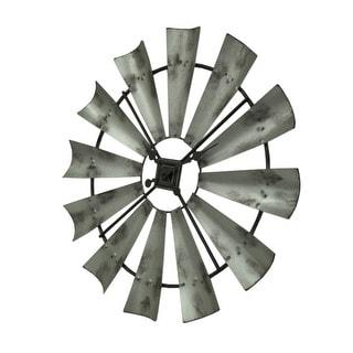 Distressed Grey Rustic 30 inch Metal Windmill Wall Clock - 29.5 X 29.5 X 1 inches