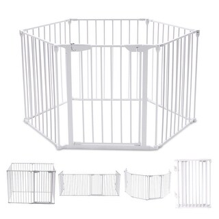 Costway 6 Panel Metal Gate Baby Pet Fence Safe Playpen Barrier
