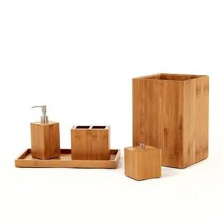 Seville Classics 5-Piece Bamboo Bath and Vanity Luxury Bathroom Essentials Accessory