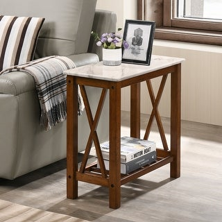 Furniture of America Joya Transitional X-shaped Side Panels Side Table