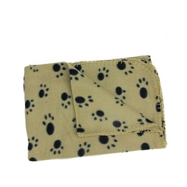 """Tan and Black Paw Print Patterned Soft Fleece Throw Blanket for Pet Beds 39"""" x 27.5"""""""