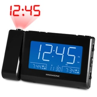 Magnasonic Alarm Clock Radio with USB Charging for Smartphones, Time Projection, Auto Dimming, Dual Gradual Wake Alarm