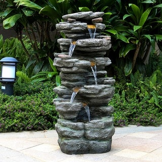6-Tiers Rocks Outdoor Water Fountain Cascading Waterfall w/ LED Lights