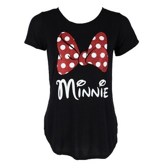 Disney Women's Fashion Glitter Minnie Mouse Bow T Shirt