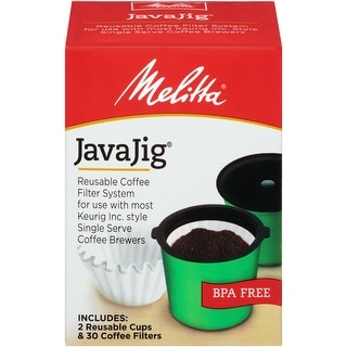 Melitta JavaJig Starter pack, Reusable Coffee Filter System for use with Most Keurig Single Serve Coffee Brewers
