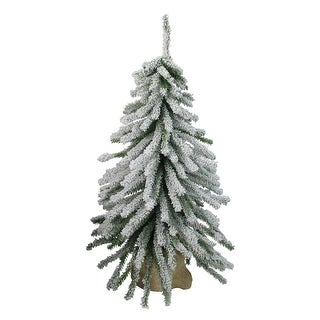 2' Potted Flocked Downswept Mini Village Pine Medium Artificial Christmas Tree - Unlit - 2 Foot